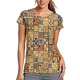 Bordado Diseños Mexicanos Talaveras Mujer Casual Camiseta Manga Corta Túnica Tops Cuello Redondo Blusa Cómodo, poliéster, Blanco, Large