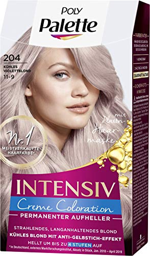 SCHWARZKOPF POLY PALETTE Intensiv Creme Coloration 204/11-9 Kühles Violettblond, 3er Pack (3 x 128 ml)