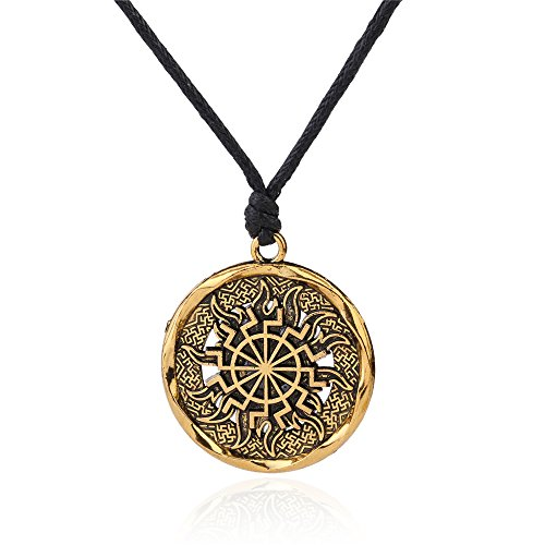 fishhook Collar de Mythology con símbolo de Dios Eslavo Vikingo de Svarozhich y Amuleto de Runa Wicca