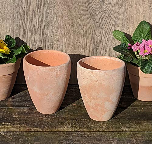 2er Set Blumentopf echt Terrakotta ca. 16 cm , Übertopf für Garten und Wohnung Terracotta ........... kein Kunststoff, Blumen Pflanzgefäß