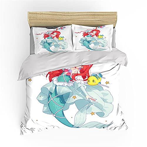 Ariel - Juego de ropa de cama, 135 x 200 cm, funda nórdica para niña, Animation Ursula con impresión 3D, The Little Mermaid (riel1, 220 x 240 cm + 80 x 80 cm x 2)
