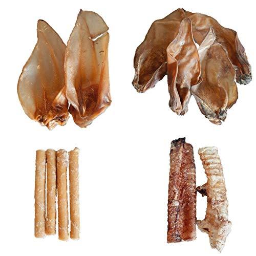Pack Snack Natural de Ternera para Perros - Oreja Ternera, Barrita de Ternera, Oreja Buey y Tráquea Ternera - Sin Ningún Aditivo ni Conservante - 12 Unidades | ANIMALUJOS ✅