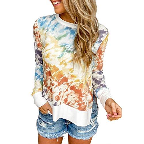 Damen Langarm Rundhals Color Matching Pullover T-Shirt Outdoor Mode Casual Daily Wear Lose Bequemer Streetwear Sweatshirt Frühling, Sommer und Herbst neu Geteilter Saum M