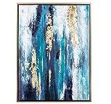wZUN Arte Abstracto Original Pintura Abstracta Oro Azul Pared Arte decoración Textura Gran Obra de Arte 60x80 Sin Marco