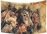 Tapiz con diseño de cabeza de tres caballos para colgar en la pared, tapices para decoración de pared, toalla de playa, decoración del hogar, utilizado en recámara sala de estar
