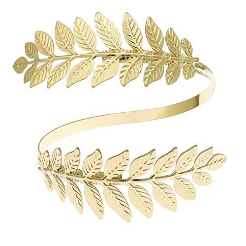 Gold Tone RechicGu Greek Roman Laurel Christmas Tree Leaf Bracelet Armband Upper Arm Cuff Armlet Festival Bridal