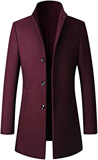 Garish Men Fashion Gentleman Long Sleeve Button Slim Business Coat Jacket Classic Pure Color Stand Collar Trench Coat