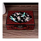 Hong Yi Fei-Shop Caja joyero para Mujer Caja de joyería Vintage antigüedad Pintada Flor de Madera Ca...