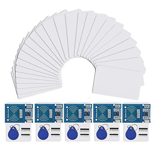 IZOKEE RFID Kit - 5 Set RC522 RF IC Reader Sensor Modul mit 25 Stück zusätzlichen S50 Schlüsselkarte als Geschenk und RFID Chip Schlüsselring und für Arduino und Raspberry Pi