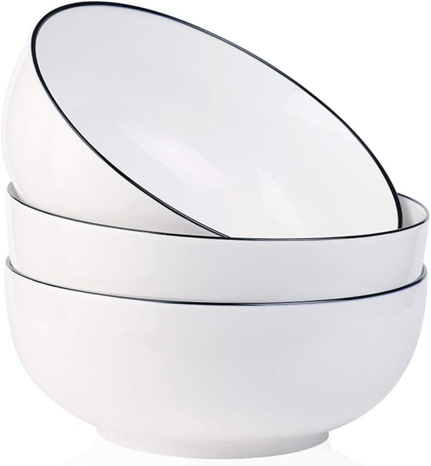 YOLIFE Salad Soup 55 OZ 3 Packs Large Round Fine Porcelain Cereal Pasta Set Bowls Set