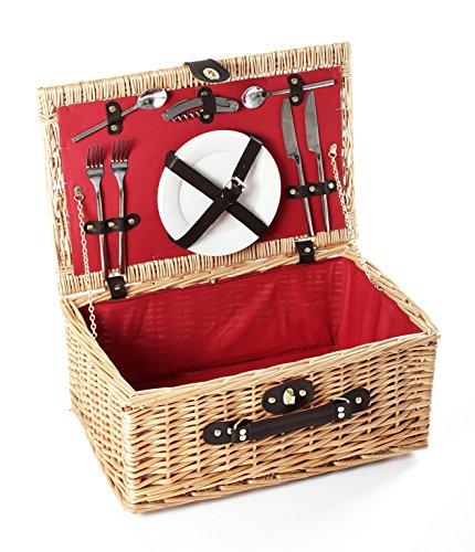 Greenfield Collection (GG023) Deluxe Buckingham Picknickkorb für 2Personen, Weide, Futter in Royal Rot