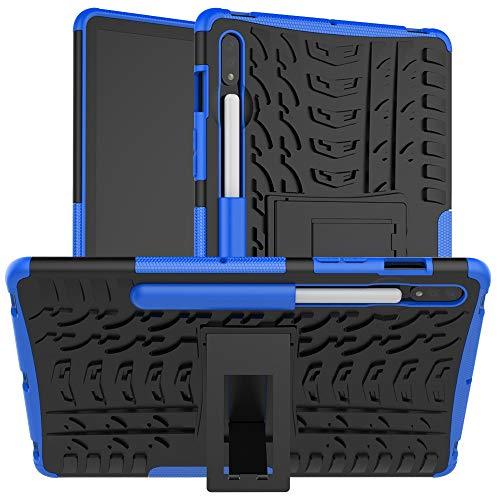 ZHIWEI Tablet PC Bolsas Bandolera Cubierta de Tableta para Samsung Galaxy Tab S7 SM-T870 / T875 / T878 11 Pulgadas 2020 Textura de neumáticos TPU + PC Funda Protectora con Soporte de Mango Plegable