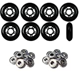 Player's Choice Inline Skate Wheels 72mm 82A Black Outdoor Roller Hockey 4 Pack -ABEC 9 Bearings