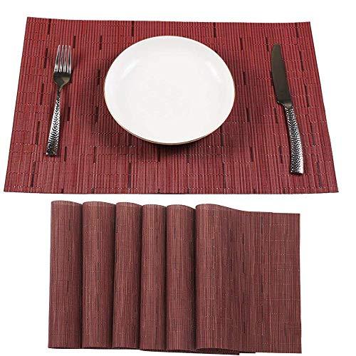 QRYY Juego de 6 manteles individuales, resistentes al calor, para mesa, antideslizantes, para cena, tapetes de PVC tejidos para decoración de mesa de cocina, lavables (rectángulo de vino tinto, 17.7 y