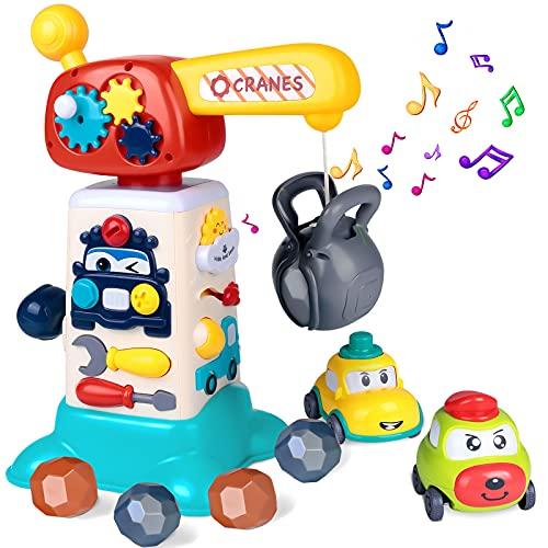 vamei Juguetes para Bebé 12+ Meses Juguete Educativo 1+Años Juguetes Preescolares Niño Centro de Juegos Multipropósito Juguetes de Grúa con Musicales Luces Regalo para Niños 1+ Año