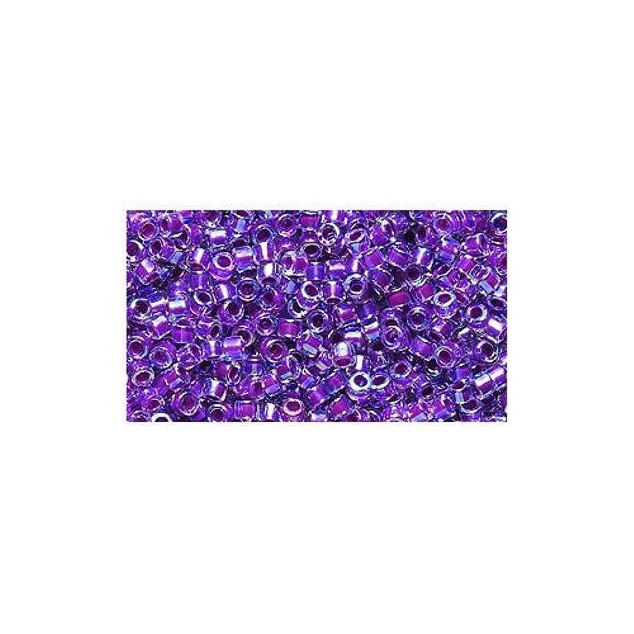 Miyuki Delica Seed Bead 11/0 DB056, Magenta Line Aurora Borealis Finish, 9-Gram/Pack