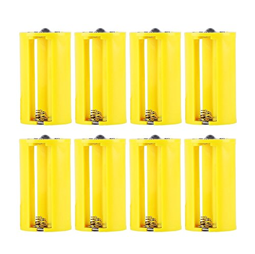 Whizzotech Parallel AA to D Battery Adapters Holder 1.5V Output Case Box 3 AA to 1 D Converter Pack of 8 (Yellow)