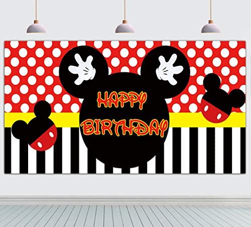 Großes Mickey Mouse Geburtstagsbanner Mickey Mouse Hintergrund Mickey Mouse Geburtstag Party Supplies Dekorationen Mickey Mouse Fotografie Foto Hintergrund (2 x 1 m)
