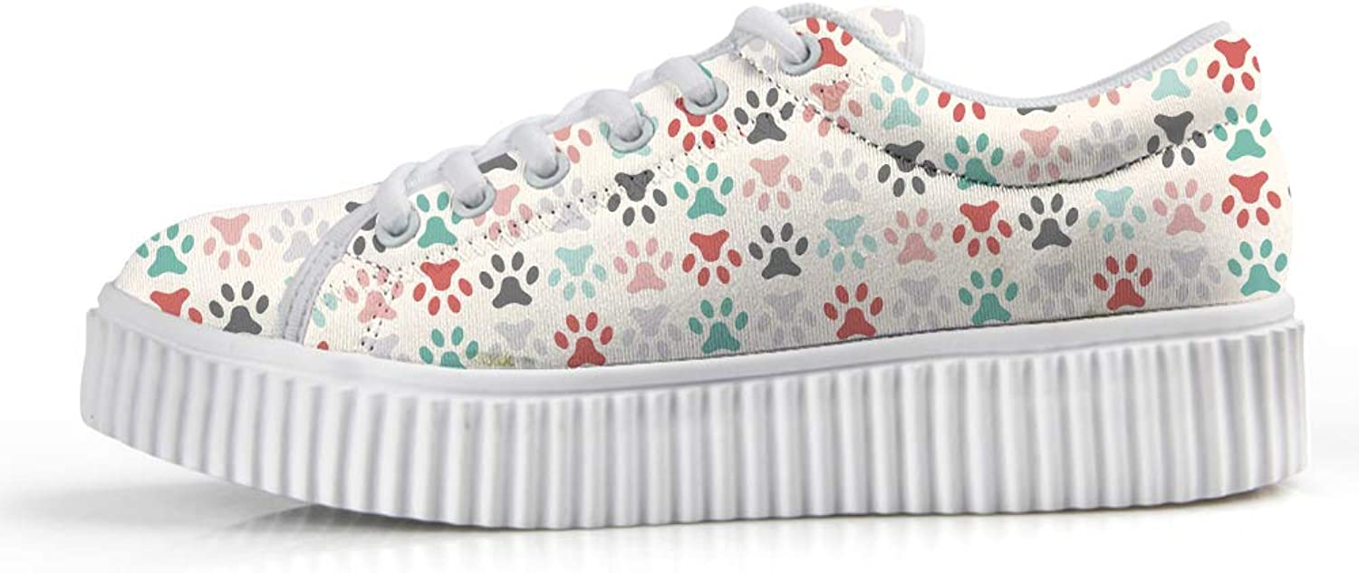 Owaheson Platform Lace up Sneaker Casual Chunky Walking shoes Low Top Women colorful Pet Paw Print