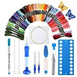 [Latest Model]Punch Needle Embroidery Kit,Punch Needle Set Magic Embroidery Pen with Cloth,50 Colors Threads&Embroidery Tools