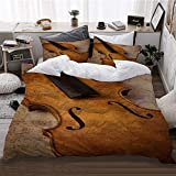 HATESAH Bedding Bettwäsche,Geige abstraktes Musikinstrument,Bettwäsche 240x260cm,Kopfkissenbezug 2(50x80cm)