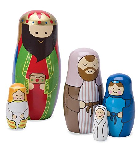 Magic Cabin Christmas Nativity Wooden Matryoshka Nesting Dolls Set Of 5 Largest 6 H Buy Online In Grenada At Grenada Desertcart Com Productid 9630991