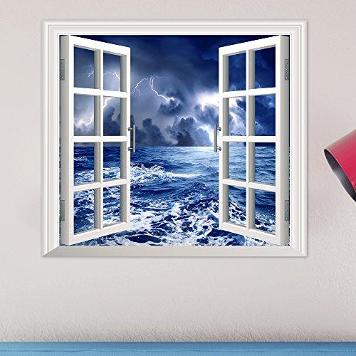 Bluelover Mer Agitée Pag 3D Artificiel Fenêtre Wall Stickers Balck Cloud Autocollants Deux-Pièces Wall Decor Cadeau