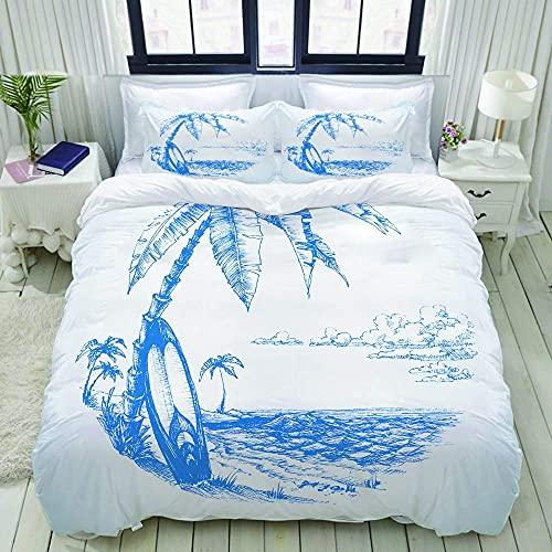 ATZTD Juego de funda de edredón, playa hawaiana con tabla de surf palmera y agua del océano, azul y blanco, juego de cama ultra cómodo de lujo de poliéster