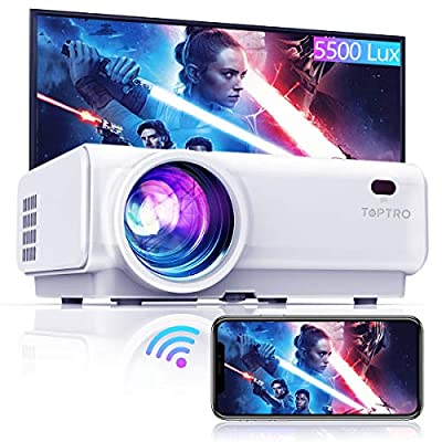 """TOPTRO WiFi Projector,5800 Lumens Bluetooth Video,Support 1080P Home Projector,200"""" Display,HiFi Speaker Compatible with TV Stick/Phone/Laptop/PS4/SD/USB/VGA/HDMI"""