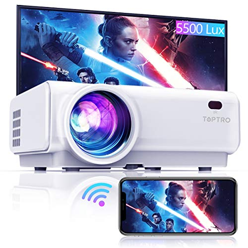 """TOPTRO WiFi Projector,5500 Lumens Bluetooth Projector,Support 1080P Home Video Projector,200"""" Display,HiFi Speaker Compatible with TV Stick/Phone/Laptop/PS4/SD/USB/VGA/HDMI"""