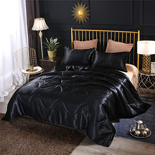 NTBED Luxury Silky Satin Comforter Set Queen Black Soft Lightweight Microfiber Sexy Quilted Bedding Sets with 2 Matching Pillow Covers for Adult Teens Kids