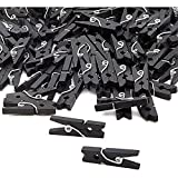 Mini Clothespins for Photos (1 Inch, Black, Wood, 100 Pack)