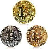 ZONSUSE 3 pcs Bitcoin Münzen, Gold überzogene, Silber mit Kupfer Sammlerstück BTC Münze Kunstsammlung Physikalisch (Gold, Silber und Kupfer)