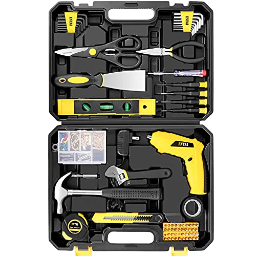 ENTAI Tool Set, 176-Piece Tool Kit with 3.6V Cordless Screwdriver for Men Women Home and Household Repair, Complete Home Tool Kit for DIY, College Students, with Solid Toolbox