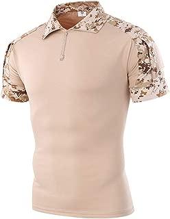 Men's Tactical Combat Shirt Short Sleeve with Zipper Military Camo Shirt