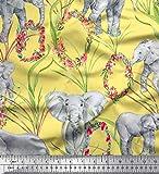 Soimoi Gelb Samt Stoff Blätter, Blumenkranz & Elefant