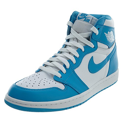 Nike Herren Air Jordan 1 Retro High OG Fitnessschuhe, Weiß/Blau (White Dk Powder Blue), 43 EU