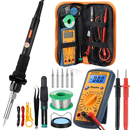 Soldering Iron Kit with Multimeter, Preciva 60W Temperature Adjustable Welding Iron Set included 5 Soldering Tips, Desoldering Pump, Tweezers, Stand, Solder Wire, Wire Stripper, and Electronic Wires