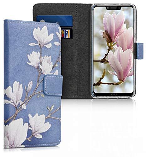 kwmobile Custodia compatibile con Honor Play - Cover magnetica portafoglio con stand in simil pelle - Case porta carte - Magnolie marrone grigio/bianco/grigio blu