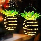 Lanterne da Esterno,Luci Solari Esterno Lampade Solari da Giardino A Forma Di Ananas per la Decorazione Domestica Impermeabile Lanterna Solare-2 Packs