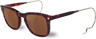 VL150900032121 Hooks Cable Temple Sunglasses Dark Tortoise Frame Pure Brown Glass Lens