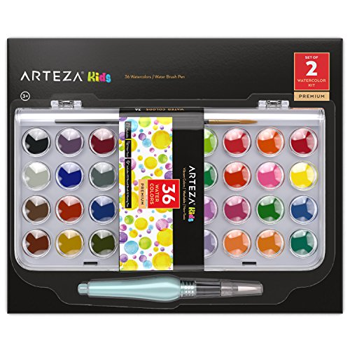Arteza Kids Watercolor Paint, Set of 36 Vibrant Color Cakes, Includes 1 Water Brush Pen, Art Supplies Travel Watercolor Kit for Adults, Artists, and Students