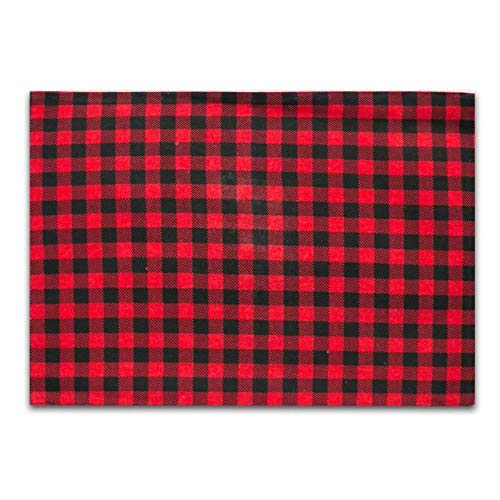 Coner Eenvoudige rode en zwarte katoenen matten Westerse tafelkleed servetten Gestreepte geruite achtergronddoek Japanse doek, 1stuk, 32x45cm