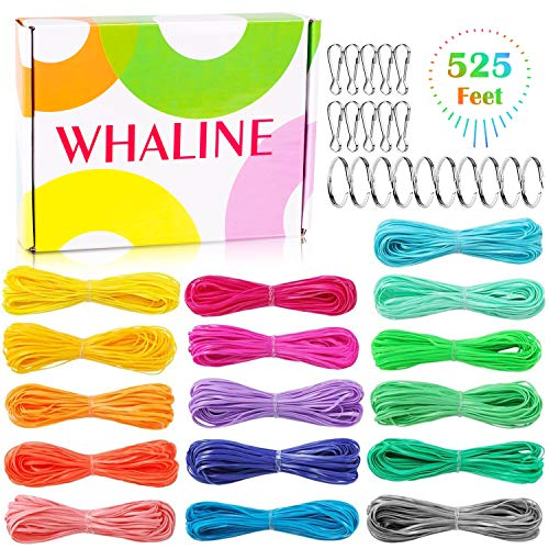 Whaline 525 Feet Gimp Bracelet Scoubidou String DIY Craft Plastic Lacing Cord for Jewelry Making with Snap Clip Hooks Keychain Ring Clips, 16 Colors