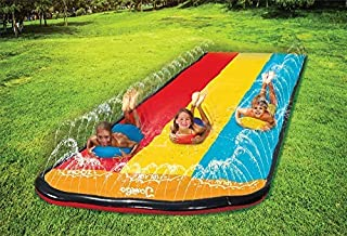 Jambo Triple Lane Slip, Splash and Slide for Backyards   Water Splash Slide with 3 Boogie Boards   16 Foot Three Sliding Racing Lanes with Sprinklers   Durable Quality PVC Construction