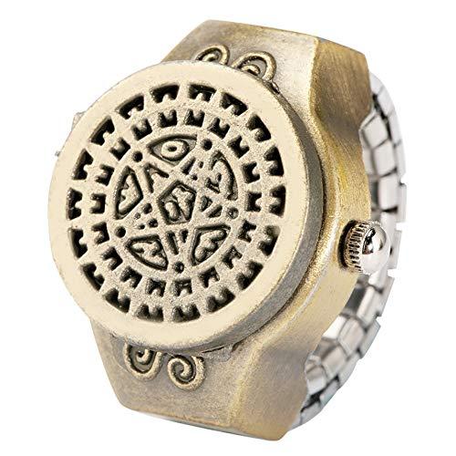 IOMLOP Taschenuhrringe Uhr für Männer Frauen Retro Little One Piece Ruder Design Flip Finger Verstellbar Elastischer Ring Quarz Analog Uhr Zubehör, Kuroshitsuji