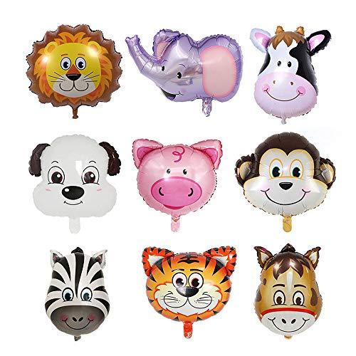 Jungle Animal Head Balloons, Lion Pig Cow Dog Monkey Zebra Tiger Donkey Foil Balloons, Kit Zoo Festival Party Supplies Kid's Toy Gift 9PCS