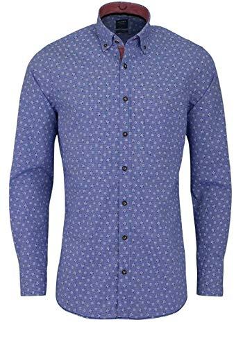 Olymp Casual modern fit Trachtenhemd Langarm Edelweiß-Muster blau Größe XXL