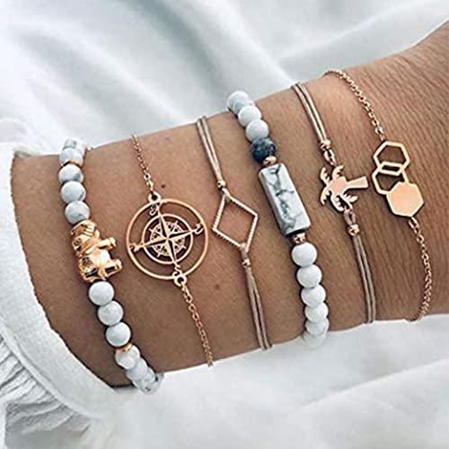 Branets Boho - Set di braccialetti con elefanti in oro con bussola, catena a mano, accessori per donne e ragazze (6 pezzi)