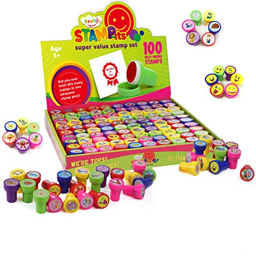 Kraftic Assorted Stampers Stamps for Kids - Birthday Party Favors, 100 Pieces
